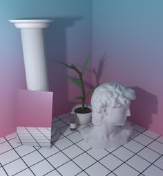 art cute Cool kawaii nature 90s 3D plants greek vertical gradient blender aesthetic yung net art vaporwave grids Yung Lean 550am sadboys 2002