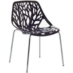 LexMod Intricate Orchard Chair in Black Plastic. Find your inner catalyst with this activating dining chair. Watch as a tree is carefully depicted in Stencil's telling journey between enigmatic forests and song-filled remembrances. Let sunlight filter through and nurture experiences of enduring light.Set Includes:One - Stencil Chair