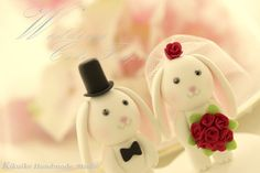 Lovely bunny and rabbit Wedding Cake Topper