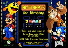Personalized Arcade Video Game Birthday Invitations *Need Party Invitations Fast? With our DIY Printing Option, you'll have your files today!