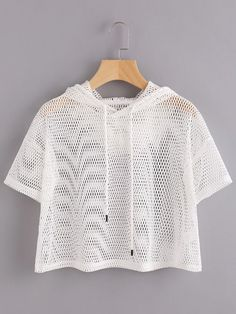 Sexy and Sporty Drawstring Plain Regular Fit Hooded Short Sleeve White Crop Length Drop Shoulder Crop Fishnet Hooded T-shirt Teen Fashion Outfits, Outfits For Teens, Girl Fashion, Casual Outfits, Girl Outfits, Boho Fashion, Casual Dresses, Jugend Mode Outfits, White Short Sleeve Tops