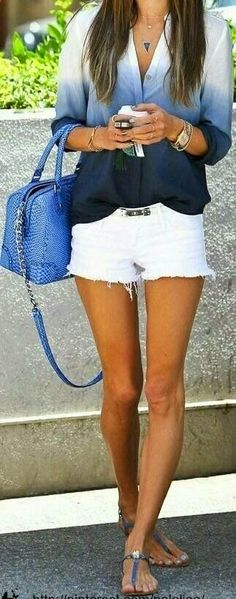 Cool Summer Outfits for 2014 Cool ombre shirt! Cool Summer Outfits, Spring Outfits, Summer Clothes, White Shorts Outfit Summer, Winter Shorts, Party Clothes, Spring Shorts, White Capris, Fall Clothes