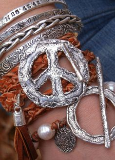 Peace Sign Leather Wrap Bracelet & Stacked Silver Bangles- Layered Hippie Jewelry