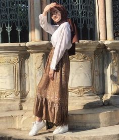 Hijab Fashion Summer, Korean Girl Fashion, Muslim Fashion, Modest Fashion, Skirt Fashion, Fashion Outfits, Girl Hijab, Hijab Outfit, Modest Outfits Muslim