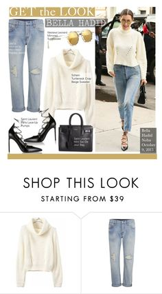 """""""Get The Look-Bella Hadid"""" by kusja ❤ liked on Polyvore featuring Yves Saint Laurent, Levi's, Illesteva, GetTheLook, celebstyle and bellahadid"""