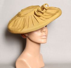 1940s GOLD Pleated Platter HAT / WWII era New by lolanyevintage, $55.00
