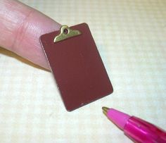 Miniature Empty Metal Clipboard for the DOLLHOUSE School or Office 1/12 Scale #Unbranded