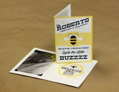 "Birth Annoucement Card Design by MWB: ""The Roberts Have Created Quite the Little Buzzzzz!"""