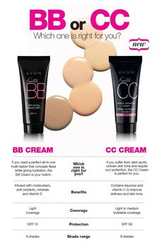 AVON Ideal Flawless BB and CC Creams!  A great way to look great without looking like you have makeup on! Great for women who want a light coverage with skin enhancing benefits!