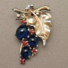 Trifari Sterling Silver Vermeil Fur Clip Pin w Blue Cabs Rhinestones | eBay