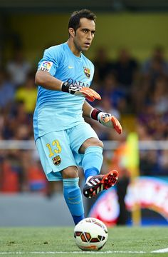 Claudio Bravo of Barcelona in action during the La Liga match between Villarreal CF and FC Barcelona at El Madrigal stadium on August 31, 2014 in Villarreal, Spain.