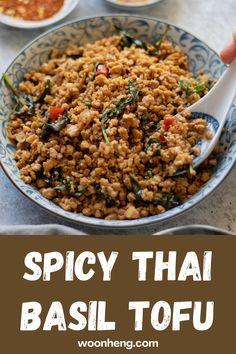 Thai Basil Recipes, Asian Tofu Recipes, Vegan Entree Recipes, Vegetarian Entrees, Delicious Vegan Recipes, Healthy Recipes, Chinese Recipes, Healthy Food, Healthy Eating
