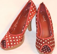 "Size 9  Shiny Red and White Polka Dot 5"" Open Toe Stilettos "" Marilyn Monroe"" #Qupid #Stilettos"