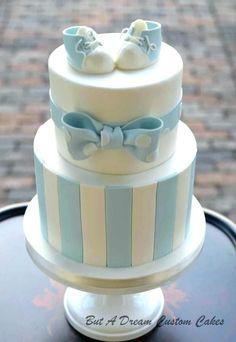 Baby blue shower cake by elisabeth palatiello christening cake boy simple, boy baptism cakes, Baby Shower Cakes For Boys, Baby Boy Cakes, Baby Boy Shower, Babyshower Cake Boy, Baby Showers, Simple Baby Shower Cakes, Fondant Cakes, Cupcake Cakes, Baby Shower Pasta