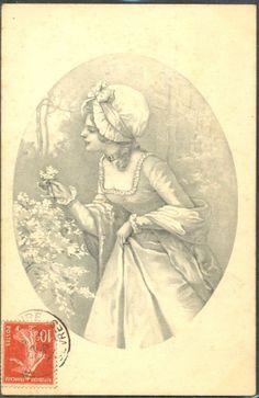 ~HB069 VIENNE Style FEMME Elegante CUEILLETTE de FLEURS ~