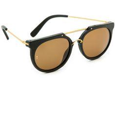 Wonderland Stateline Leather Sunglasses (4,690 MXN) ❤ liked on Polyvore featuring accessories, eyewear, sunglasses, aviator sunglasses, aviator glasses, aviator style sunglasses, glasses aviator and polarized sunglasses