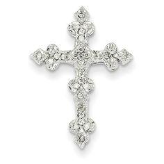 Amazon.com: 14k White Gold Diamond Filigree Cross Pendant: Jewelry