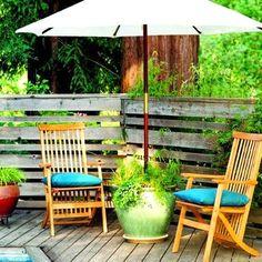 patio umbrella holder/planter, DIY shady reading area for outdoor living