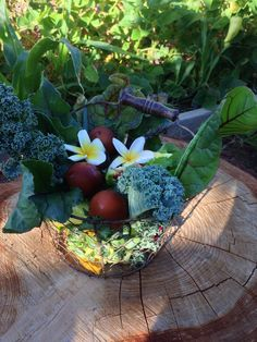 Putting together salad baskets from all of our vegetables growing in the garden right now.  We also threw in a handful of hard-boiled eggs from the chickens in the back!  We boiled them with a red onion so you can tell easier which ones are hard-boiled in the refrigerator.