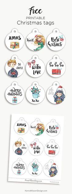 Round Christmas tags | free Christmas printable | #christmas #giftwrapping #freeprintables #tags #winter