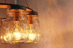 mason jars are amazing. Mason Jar Chandelier, Mason Jar Lamp, Modern Landscape Lighting, Extreme Makeover Home Edition, Ceiling Hooks, Wire Installation, Modern Country, Country Living, Modern Rustic