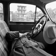 Vivian Maier, Undated, New York, NY, man sleeping in car