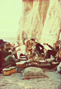 lets have dinner on pillows by the ocean with our dearest friends
