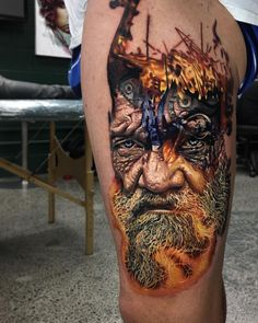 Perfect color tattoo of Viking piece motive done by tattoo artist Ben Kaye from Orewa, New Zealand
