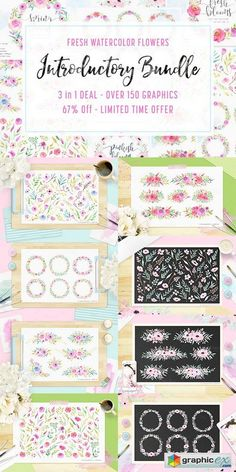 3 IN 1 Bundle  Watercolor Flowers  stock images