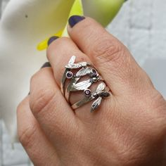 Branch ring , twig ring , leaf ring , sterling silver , Branch silver ring…