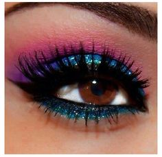Glittery Blue Eye Shadow W/ Pink and a Hint of Purple! <3