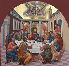 Last Supper by John Vegkos Religious Icons, Religious Art, Holy Thursday, Religious Paintings, Byzantine Icons, Painting Workshop, Last Supper, Catholic Art, Orthodox Icons