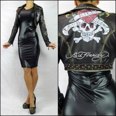 $499 ED HARDY BLACK LEATHER geisha JACKET 12 crop BIKER tattoo DESIGNER love