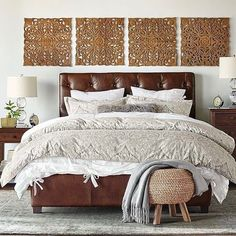Who says you can't have an equal balance of masculine and feminine in a bedroom? The combination of our Lorraine Tufted Leather Headboard with our Mackenna Paisley Duvet is a match made for stylish lounging we think! Check the link in profile for a complete listing of products in this space. #designtherapy #bedrooms #leather #bedroomdesign #interiordesign #mypotterybarn