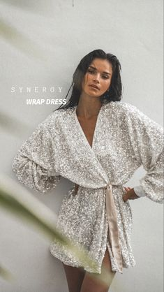 Sequin dress Belt Tying, Sequin Dress, Wrap Style, Dresses For Sale, Wrap Dress, Sequins, Model, How To Wear, Gowns