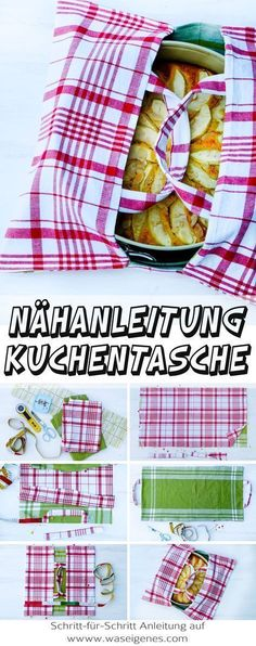 Sewing instructions cake bag from tea towels + recipe low carb apple pie-Nähanleitung Kuchentasche aus Geschirrtüchern + Rezept low carb Apfelkuchen Step-by-step sewing instructions for a … - Diy Sewing Projects, Sewing Projects For Beginners, Sewing Hacks, Sewing Tutorials, Sewing Crafts, Sewing Tips, Sewing Ideas, Sewing Patterns Free, Free Sewing