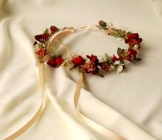 Autumn Weddings Bridal Floral Crown Red Woodland hair Wreath headpiece dried flower garland halo party accessories fall Rustic Chic Winter by AmoreBride on Etsy