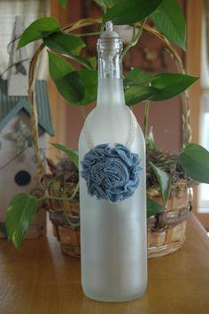 Denim & Lace Frosted Wine Bottle