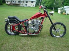 1974 Kawasaki Z1 chopper. Amen frame, tank and battery box. Invader mags. Inverted springer front end. I