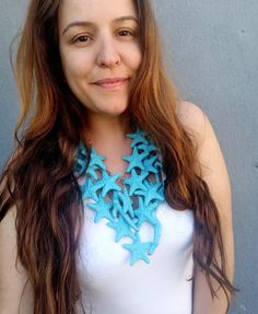 Starfish Mermaid Statement Necklace Teal Starfish Coral | Etsy Body Adornment, Raw Beauty, Ear Jacket, Pearl Studs, Unique Necklaces, Statement Jewelry, Starfish, Necklace Lengths, September