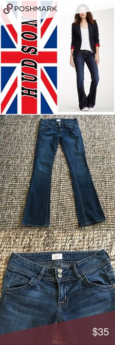 """Hudson Signature Boot Cut Jeans Size 25 Hudson Signature Boot Cut Jeans Size 25. In very good condition, except sadly they are missing the round British Flag Emblem on the right front pocket, but still have the back side emblem. Also, a little fraying on the left back hem. Adorable jeans you can dress up or down. Waist 14"""", Inseam 29.5"""", Rise 7.5"""" Love these jeans!!! 😍❤️ Hudson Jeans Jeans Boot Cut"""