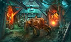 #art #gameart #interior #gamedev #gamedevelopmentart #madheadgames #gaming #games #game  #barn #tractor #bulb Heart Of The Storm, Witches Castle, Bg Design, Deviantart, City, Backgrounds, Illustration, Painting, Beautiful