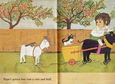 vintage kids folk music picture book Hush by OnceUponABookshop