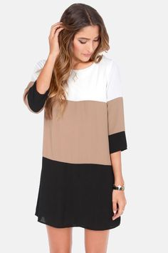 Color Block Shift Dress via lulus.com