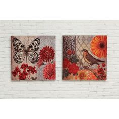 Haven Butterfly and Bird 2 Piece Painting Print on Canvas Set (Set of 2)