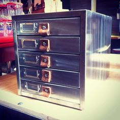 Industrial stripped steel mini file cabinet - The General Store