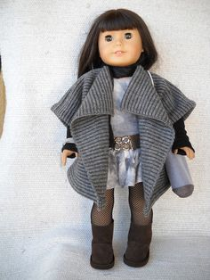 """American Girl Doll Clothes - 9 piece grey sweater coat """"grunge""""outfit"""