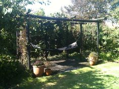 Dejligste plads i haven... Min skønne pergola med skygge fra de store mini-kiwi-planter