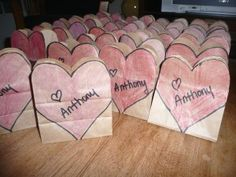 A simple way to spruce up a plain paper bag just in time for Valentine's Day! Great to use instead of a Valentine box - or fill with treats! Valentines Day Bags, Valentine Crafts For Kids, Valentines Day Activities, Valentine Box, Holiday Crafts, Valentine Mailboxes, Holiday Activities, Valentine Ideas, Holiday Ideas