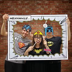 Superhero Photo Booth Props Includes Frame Batman Superman Wonder Woman #DCCOMICS #Parties                                                                                                                                                                                 Más